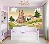Bilderdepot24 Selbstklebende Fototapete - Kinderbild - Burg - Märchenschloss - Vintage - 300x200 cm - Poster – Dekoration – Wandbild – Wandposter – Wand - Wanddeko
