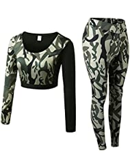 Zhhlaixing Women 2 Pieces Camouflage Fitness Workout Long Sleeve Crop Tops + High Waist Leggings Sweatsuits Tracksuit Outfits