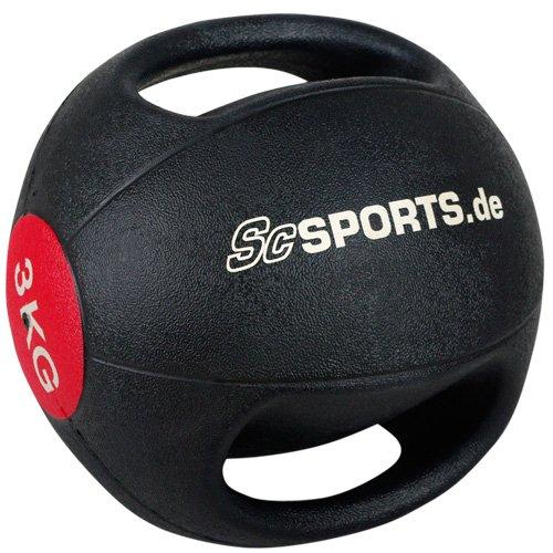ScSPORTS Medizinball mit Griffen 3 kg / 6 kg / 9 kg Gewichtsball Fitnessball Gymnastikball (3 kg)