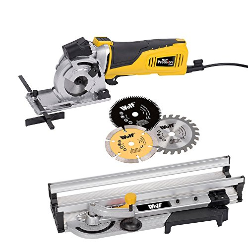 Wolf  600w 89mm Precision Plunge Mini Circular Saw and Mitre Base Guide Track 2 YEAR WARRANTY