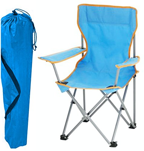 Tesco Kids Childrens Folding Camping Chair Fishing Hiking Picnic Garden Collapsible Outdoor With Carrying Bag By (Blue)