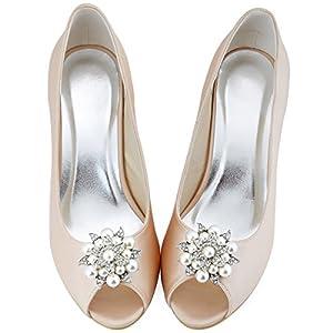 Elegantpark AE01 Donna Strass Perla Fiors Accessori Per Scarpe Da Sposa Matrimonio Scarpe Scintillanti Clip 1 Coppia Argento
