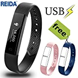 Fitness Tracker, REIDA Smart Bracelet with 2 Extra Replacement Bands Wearable Wristband as Pedometer Sleep Monitor Call SMS SNS Alert and More Built-In USB Charging IP67 Waterproof Bluetooth 4.0 for Android & IOS (RL6001)