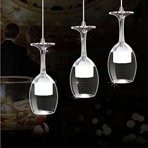 ZMH LED 3X3W Pendelleuchte Pendellampe mit Weinglas Form Desgin aus Arcyl und Metall Hängelampe...