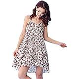 Ropa interior de la falda del sueño floral dulce de la muchacha de los pijamas del algodón del cuello V atractivo de la muchacha ( Color : Multi - color , Tamaño : L )