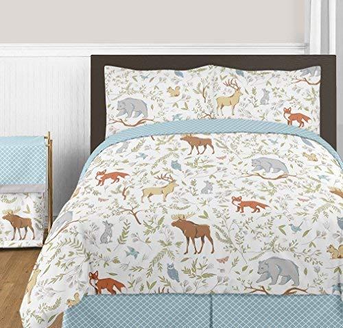 Blau, Grau und Weiß Woodland Deer Fox Bear Animal Toile 3Stück Mädchen oder Jungen Full/Queen Bettwäsche Kinder Bettwäsche-Set -