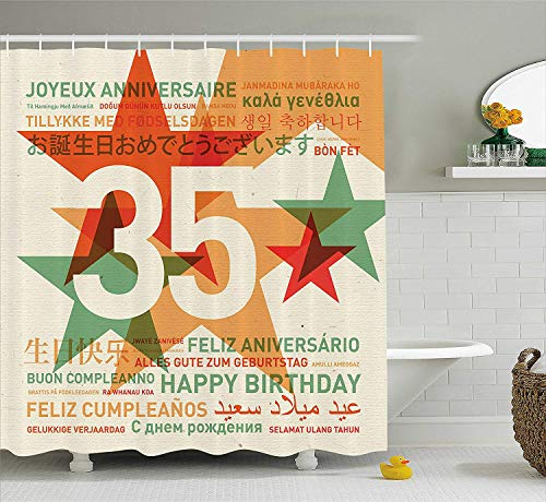 MSGDF 35th Birthday Decorations Shower Curtain, Stars and Greetings in Different Languages Old Fashion Backdrop, Fabric Bathroom Decor Set with Hooks, 60 X 72inch, Multicolor Frosted Old Fashion Set
