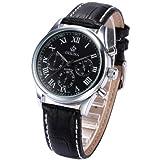EASTPOLE Montre luxueuse Chronographe Bracelet en Cuir JP Bracelet en acier Argenté ORK151