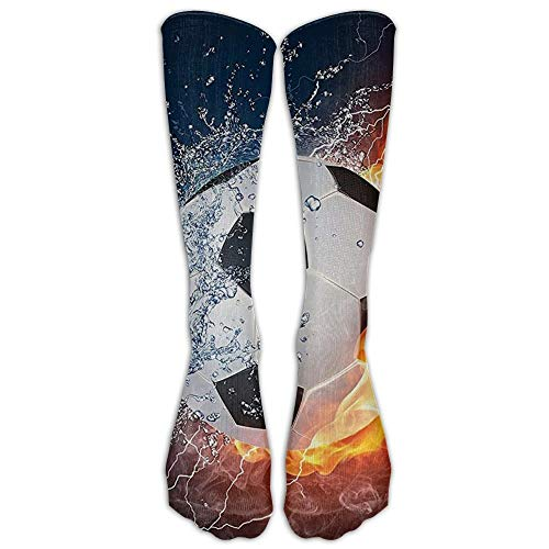 Soccer Ball On Fire and Water Flame Splashing Thunder Lightning Youth Soccer Socks Teens Knee High Football Socks Long Striped Rugby Tube Socks. -