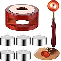 Mudder 7 Pieces Wax Seal Kit, Wax Seal Warmer Melting Spoon and 5 Pieces Tea Candles, Wax Sticks Wax Beads Melting Furnace Tool for Wax Sealing Stamp Greeting Invitation Card