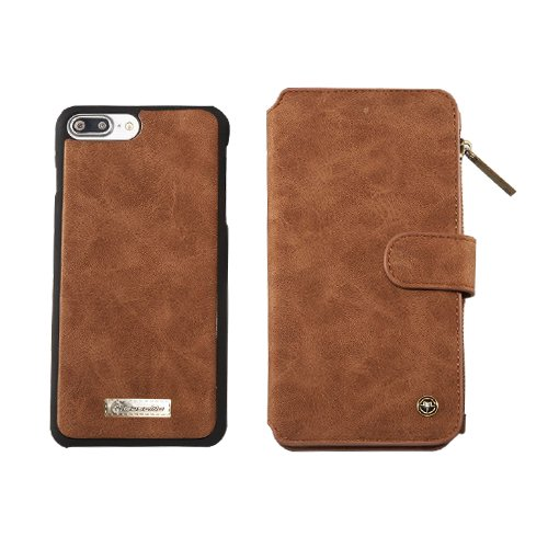 F8Q haute qualité amovible Zipper Case Cover en cuir flip Wallet Card pour iPhone 7 rouge