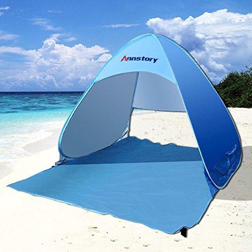 Annstory Tenda Da Spiaggia Per Esterni, Portatile, Con Protezione Solare Per 2 o 3 Persone, Protezione UV, Apertura Istantanea Pop-up,