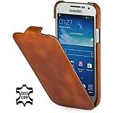 StilGut UltraSlim Case, Tasche aus Leder für Samsung Galaxy S4 Mini (i9195), Cognac