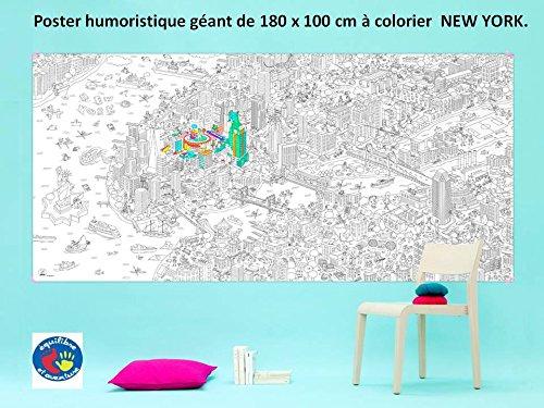 """New York - Poster géant à colorier 1.80 x 1 mètre avec décor """"Ville de NEW YORK"""" -"""