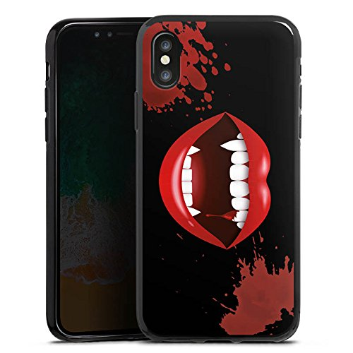 Apple iPhone 7 Plus Silikon Hülle Case Schutzhülle Vampir Halloween Lippen Silikon Case schwarz