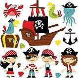 azutura Karikatur-Pirat Wandtattoo Set Piratenschiff Wand Sticker Kinder Schlafzimmer Haus Dekor Erhältlich in 8 Größen XX-Groß Digital
