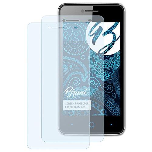 Bruni Schutzfolie kompatibel mit ZTE Blade C341 Folie, glasklare Bildschirmschutzfolie (2X)