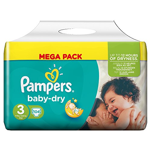 Pampers Baby Dry Nappies – Mega Pack 51tdblKus8L