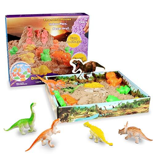 Weeygo Magic Sand Dinosaurio - Arena Mágica Cinética Animal Moldes Juego 500g - Manualidades con Arena Play Sand, Art Playset Regalo para Niños