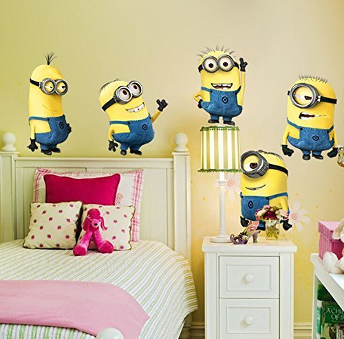 Image of 5 Minions Despicable Me Removable Wall Stickers Decal Home Decor Kids Room (Large)