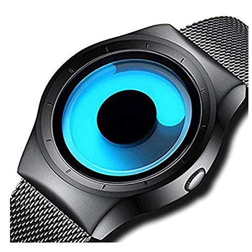 Horse Head Swift Movement Blue Spinner Dial Black Shepard Metal Belt Men\'s & Boy\'s Watch - BLNUON