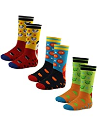 3er Pack Kinder Socken Vollfrottee rutschfest mit ABS und Motiv lustige Tiere