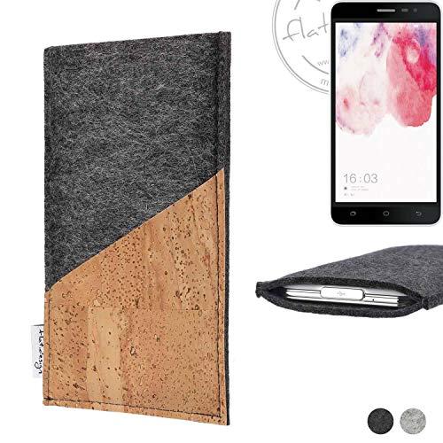 flat.design Handy Hülle Evora für Hisense F20 Dual-SIM handgefertigte Handytasche Kork Filz Tasche Case fair dunkelgrau