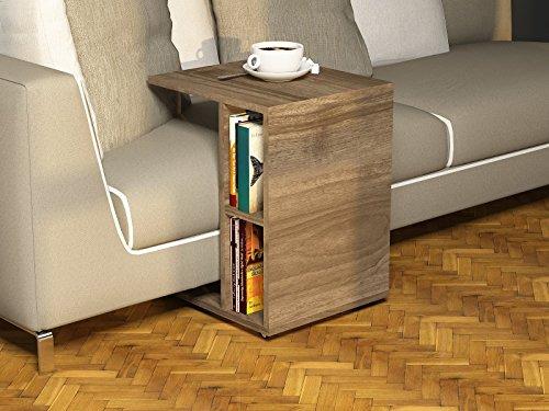 Ceylin tavolino basso da salotto con ruote noce for Tavolino divano design