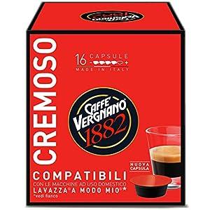 Caffè Vergnano 1882 Capsule Caffè Compatibili Lavazza A Modo Mio, Cremoso - Confezione da 16 capsule
