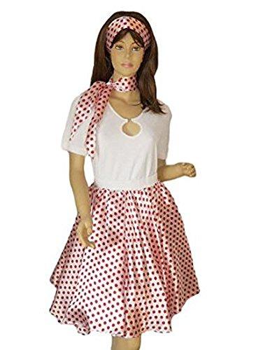 Seruna R09 Tolles Tellerrock f. Pettticoats in weiß/rot, Petticoat Kleid, passend zum 50er 60er Jahre Outfit, Einheitsgröße 34-42