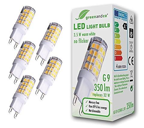 5x greenandco® Ampoule à LED G9 équivalent à 32W, aucun scintillement 3,5W 350lm 3000K (blanc chaud) 300° 230V AC, non graduable