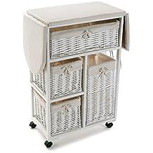 mueble planchador con cestos de mimbre en color blanco