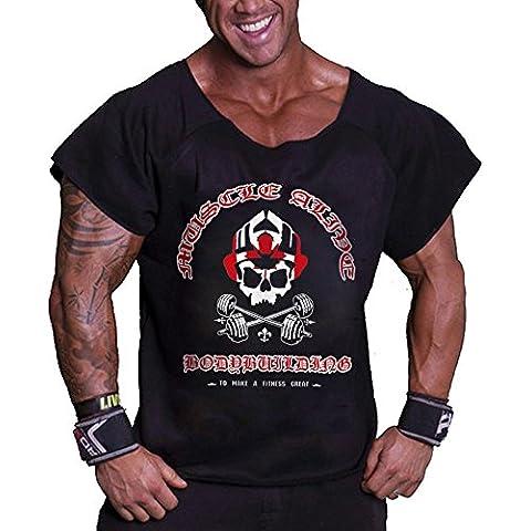 MuscleAlive Uomo Culturismo Rag Top allenamento spugna di cotone