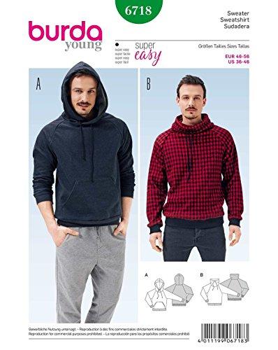 Burda 6718 Schnittmuster Sweater Hoody (Herren, Gr. 46 - 56) Level 1 super easy -