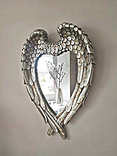 Homezone® anticata argento angel wings specchio da parete vintage specchio, specchio specchio shabby chic con cornice a forma di cuore per camera da letto soggiorno bagno.