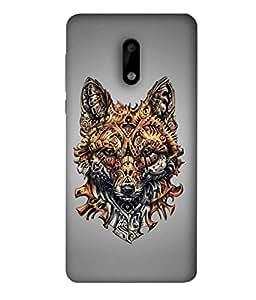Nokia 6 Back Cover, Nokia 6 Back Case Ethnic Ornamented Wolf Or Dog Vector Illustration Design From Printvisa