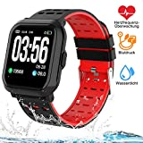 Tigerhu Smartwatch,Fitness Armband Uhr Voller Touch Screen Fitness Tracker Sport Uhr IP68 Wasserdicht Stoppuhr Kalorienzähler mit Schrittzähler Pulsuhren Intelligente Armbanduhr für Damen...
