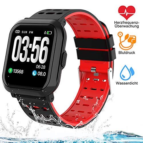 Tigerhu Smartwatch,Fitness Armband Uhr Voller Touch Screen Fitness Tracker Sport Uhr IP68 Wasserdicht Stoppuhr Kalorienzähler mit Schrittzähler Pulsuhren Intelligente Armbanduhr für Damen Herren