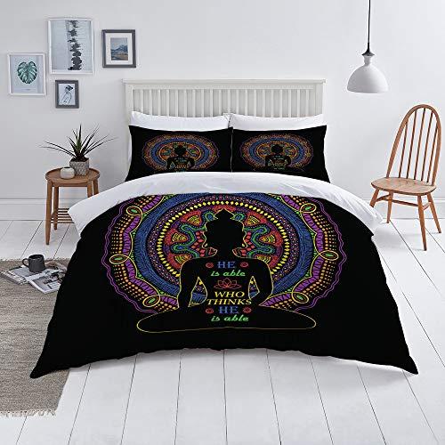 not Edredón- Ropa de Cama,Diseño de Silueta y Mandala de Buda Aislado,Microfibra,edredón 1 edredón 140×200CM y 2 Fundas de Almohada 50×80CM