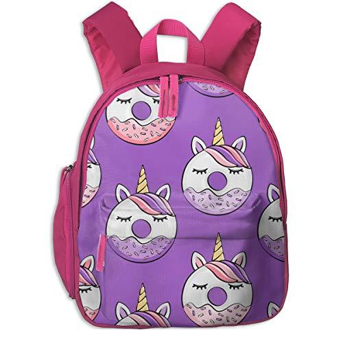 Zaino per bambini 2 anni,Ciambelle unicorno (viola e rosa) su Purple_4864 - littlearrowdesign, per le scuole per bambini panno Oxford (rosa)