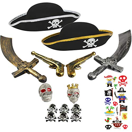 Set Piraten Kostüm - com-four® Zubehör-Set II. für Piraten Kostüme - Ideal für Karneval, Motto Partys und Kostümveranstaltungen (15-teilig - für 2 Kinder) (15-teilig - 2 Personen)