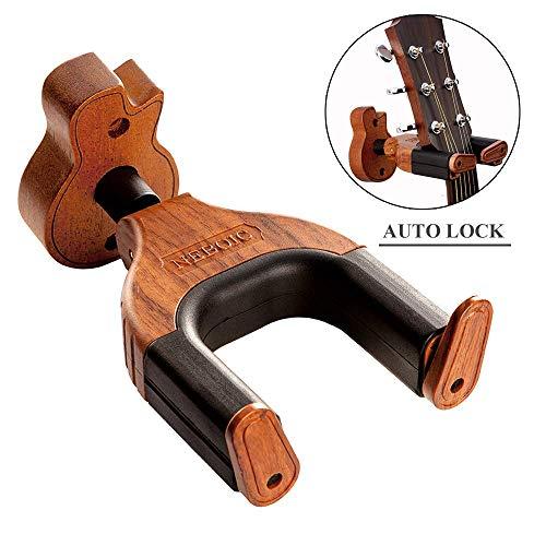 Neboic Gitarren-Wandhalterung Auto Lock Gitarrenwandhalter Gitarrenhalter für Die Wand Massives Mahagoni Holz für alle Gitarren, klassische Gitarre, Bassgitarren, Violinen, E-Gitarre