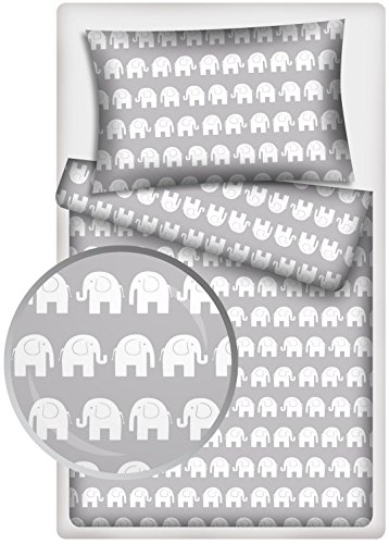 Kinderbettwäsche Elefanten 2-tlg. 100{744d0a567d962a5961890fdf64b6f34338daf7bf164e07610934cd22f108db9f} Baumwolle 40x60 + 100x135 cm mit Reißverschluss (grau1)