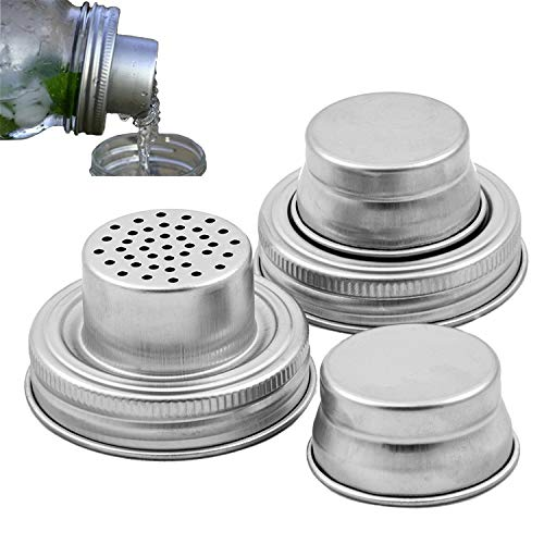youtu Mason Jar Shaker Lids - 2 Pack - Awesome to Shake Cocktails or Your Dry Rub - Mix Spices, Dredge Flour, Sugar & More - Fits Any Regular Mouth Canning Jar - Durable, Rust Proof Stainless Steel