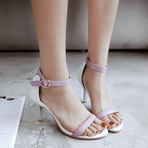 COOLCEPT Damen Mode-Event Knochelriemchen Sandalen Open Toe Stiletto Shoes White