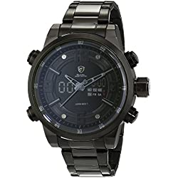 Shark Mens Quartz Wrist Watch Extra Large Case with Analog LCD Date Day Display SH343