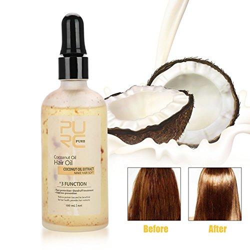 100ml Natürliches Kokosöl für das Haar Gesichts Körper Sorgfalt Befeuchtende Haar Verlust Öl-Behandlung, Anti UV, Antischuppenmittel und verhindern Haar Verlust