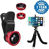 Captcha® Octopus Style Mini Adjustable Flexible Tripod Selfie Stick Stand Holder And 3in 1 Clip-on Cell Phone Camera 180 Degree Fisheye Lens + Wide Angle + Macro Lens (One Year Warranty)