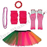 Blue Planet Online Childrens 4-7 Years - Neon Tutu Skirt, Fishnet Gloves, Legwarmers, Beads Necklace & Chunky Bracelet 1980s Fancy Dress