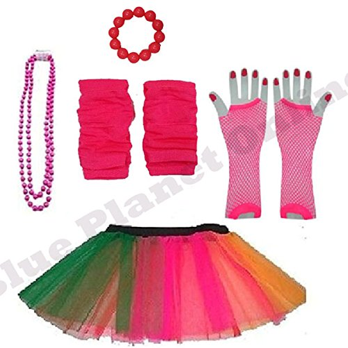Plus Size 16-24 - Neon Tutu Skirt, Fishnet Gloves, Legwarmers, Necklace & Bracelet - 6 Colours
